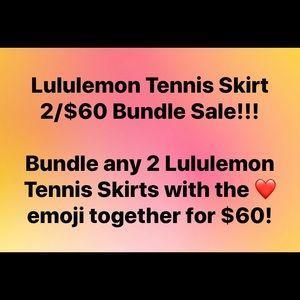 Lululemon Tennis Skirt Bundle - 2 skirts for $60